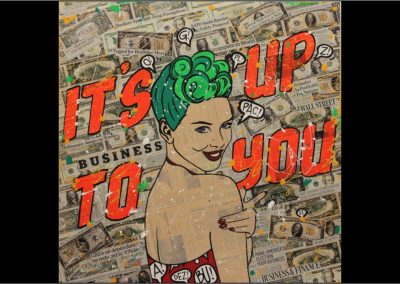 Sara Arnaout_It's Up to You <br>100x100cm-Collage-acrylic-and-fluo-on-the-canvas