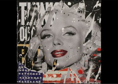 Sara Arnaout American Dream<br>60x60cm <br> paper collage and enamel on canvas