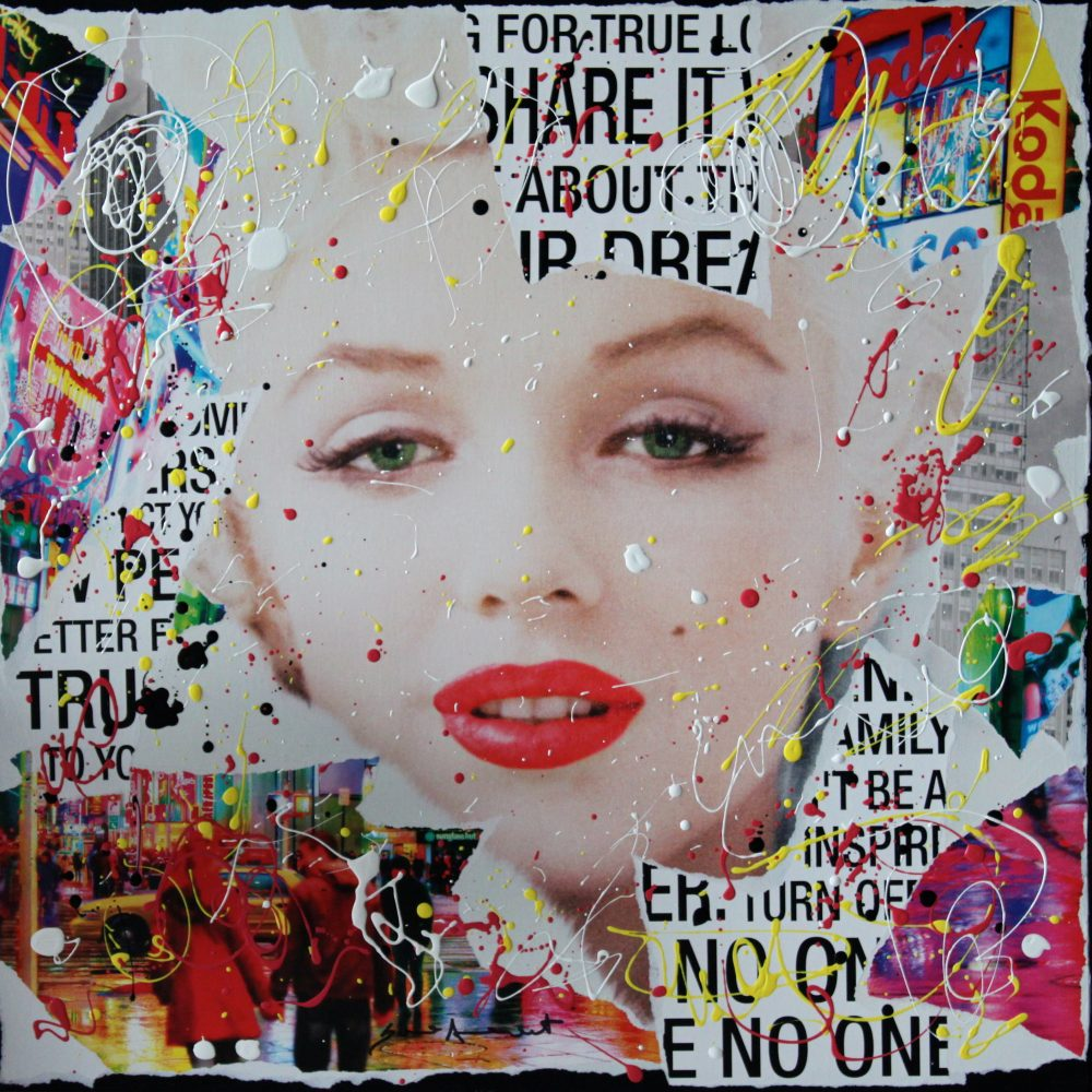 No One <br> 60x60cm <br> paper collage and enamel on canvas