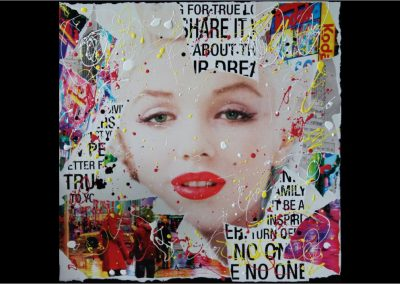 Sara Arnaout No One <br> 60x60cm <br> paper collage and enamel on canvas